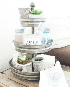 When it comes to Antique Candle Works candles, #RaeDunn, and 3-tier trays, the possibilities are endless! Beautiful #handmade soy #candle - #rustic #decor for the modern #farmhouse home. PC: Erica from Our Humble Nest