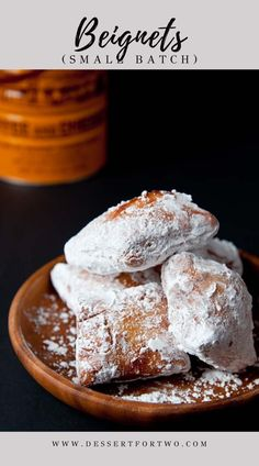 Beignets Recipe (small batch recipe) – Beignets New Orleans recipe Beignets, a small batch recipe. A taste of Cafe du Monde New Orleans at home! Recipe makes just 8 small beignets in about 90 minutes. Dinner Party Desserts, Holiday Desserts, Mini Desserts, Beignets, Donut Recipes, Baking Recipes, Dessert Recipes, Bread Recipes, Nutella Brownies