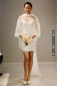 stunning short wedding gown by Theia | CHECK OUT MORE IDEAS AT WEDDINGPINS.NET | #bridesmaids