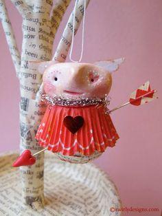 Swirly Designs by Lianne & Paul www.swirlydesigns.com Handmade polymer clay holiday ornaments #valentine #love #handmade #polymerclay #ornaments #red #pink #heart #swirlydesigns #cupid #arrow