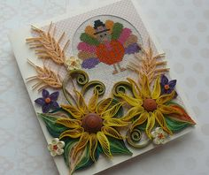 Quilling Thanksgiving Day Cross Stitch Card Give Thanks