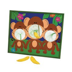 Going Bananas Monkey Bean Bag Toss Game - OrientalTrading.com--Repaint for theme and use alphabet bean bags?? Game?