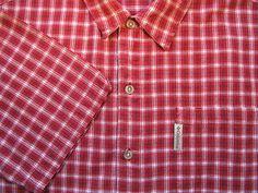 Columbia Mens Shirt L Large Red White Plaid Logo Short Sleeve Button Front EUC