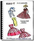 These free fashion doll sewing patterns are a complete wardrobe. From an evening gown and stole to slacks and a shell top. You can draw them off using the patterns on this site or you can purchase