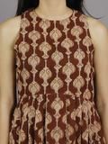 Chocolate Brown Beige Black Long Sleeveless Hand Block Printed Cotton Dress With Knife Pleats & Side Pockets - D3258201