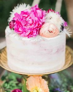 You'll Want to Pin Every Detail of This Boho-Chic Bachelorette Party | Martha Stewart Weddings - Because it's not a party without cake, Whisk & Whittle made a marbled berry cake, complete with subtle brushstrokes on the outside and bright blooms on top.