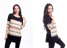 $11.99 Aztec Print Pattern Long Sleeve Tunic Top/// This Aztec pattern top in such a gorgeous print will give a unique and gorgeous look. Neon color in the pattern is enough to style you up of the day. With soft and stretchable fabric, you will love not only the look but also the feeling of the fit. #Solid #Knit #Tunic #Top #Neon #Color #Aztec #Print #Pattern #Design #3/4Sleeve with #AztecPrint