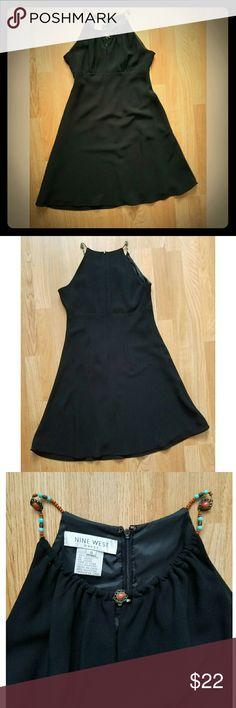 ☙24HR SALE☙ {Nine West} Dress w/Beaded Straps Sexy Black Dress w/Beaded Straps Nine West Dresses Midi