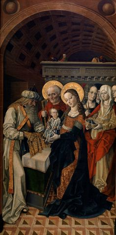 The Presentation of Jesus in the Temple / Presentación de Jesús en el Templo // Ca. 1500 // Master of the Sisla // Mary, who is very richly dressed, is holding the Christ child above the altar; Joseph is at her side.Simeon is also in the room, along with some women, one of whom has a basket with two doves in it. The painting comes, together with five others of the same group, from the Hieronomite monastery of La Sisla (Toledo) // #Christ #Candlemas #Purification