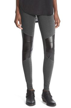 Sun & Shadow Leggings with Faux Leather Trim | Nordstrom