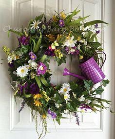 Spring Wreath, Spring Grapevine Wreath, Summer Wreath, Wildflower Wreath, Watering Can Wreath, Daisy Wreath, Garden Decor, Spring Decor