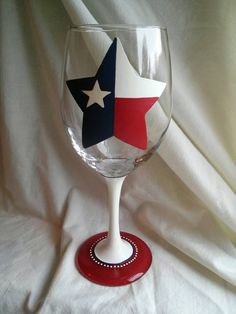 Hey, I found this really awesome Etsy listing at https://www.etsy.com/listing/234360014/texas-flag-star-hand-painted-wine-glass