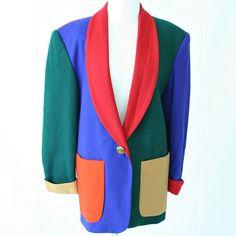 vintage 90s wool blend COLOR BLOCK blazer size M/L by PasseNouveauVintage, $29.00
