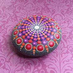 Jewel Drop Mandala Painted Stone sea urchin passionfruit
