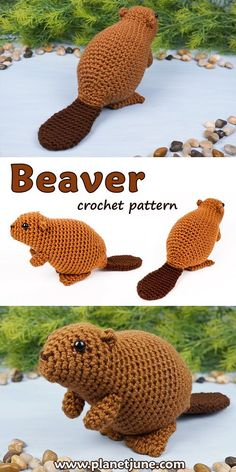 An adorable realistic amigurumi beaver pattern to crochet. It sits up on its back feet using its tail for balance - just like a real beaver!