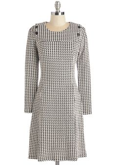 Merry-Go-Houndstooth Dress. Stroll round town in cheerful style in this chic black-and-ivory dress. #multi #modcloth