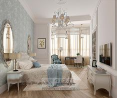 Blue Bedroom Design Idea and Picture 2016  http://interior-design.pro/ru/blog/dizayn-spalni-12-kv-m-s-kabinetom.php