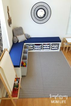 Playroom Reveal: IKEA Kallax Hack, Playroom Storage Benches, DIY window bench, no sew bench cushion, no drilling, Nautical Playroom, Coastal Playroom, Playroom Ideas, Playroom Decor, Playroom on a Budget