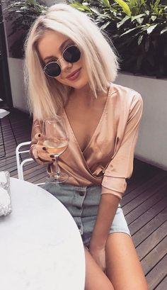 summer outfits Coral Silk Blouse + Denim Skirt