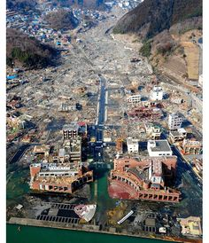 Japan earthquake and tsunami :An aerial view of the devastation in the town of Onagawa,Myagi Prefecture-march,11,2014