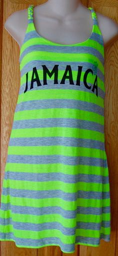 NWT Womens JAMAICA Dress SWIM SUIT COVER UP M Green Gray RACER BACK Striped BG1…