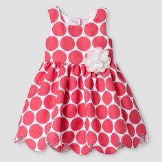 Zenzi Toddler Girl's Sleeveless Polka Dot Pique Scallop Hem A Line Dress - Coral/White : Target