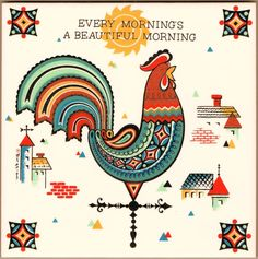 """Every Morning is a Beautiful Morning"" trivet tile.  This is a reproduction of a Berggren Trayner trivet tile from the 1960's.  For sale in my eBay store."