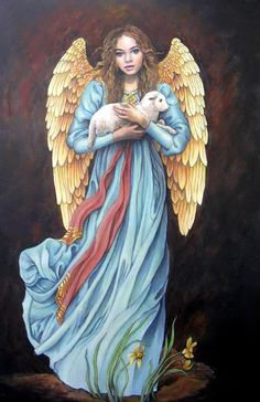 Vintage Inspired Angel with Lamb. Fast S&H by OurCraftAddictions D N Angel, Peter Paul, Angel Artwork, Angel Paintings, Paint Prices, Xmax, Angel Pictures, Angels Among Us, Guardian Angels