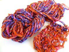 Handspun Art Yarn  Fashion Sparkles  Sari Ribbon by ladypainswick, $30.00
