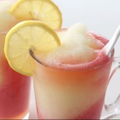 A sweet frozen strawberry lemonade slushie to keep you cooled off on those hot days, or enjoy any time of the year.