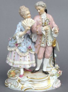 Meissen Model: O 158 Description: Before The Dance Modeled By: August Ringler ca. 1890 Mark: O 158 Painter Number: 62 - Gustav Hamann Height: in - cm Porcelain Ceramics, China Porcelain, Statues, Handmade Lampshades, Beautiful Barbie Dolls, Color Studies, Antique Items, Dresden, Art Decor