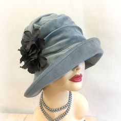 The Alice Cloche Hat - Duck Egg Blue Velour Cloche - Downton Abbey Style Cloche Hat