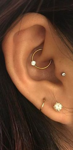 Cute Ear Piercing Ideas at MyBodiArt.com - Rook Daith Hoop Ring Earrings Tragus Stud