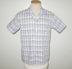 Vintage 1950s Plaid Short Sleeve Pastel Shirt By Manhattan - Size M by SayItWithVintage on Etsy