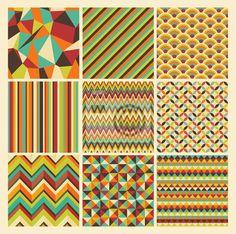 Papier peint Seamless retro géométrique hippie fond ensemble. Patterns