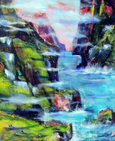 "Atlantic Cliffs by Christina Kjelsmark - 48"" x 60"", Acrylic on Canvas - $6,050.00 - www.nordicartwork.com"