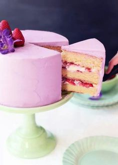 Strawberry Lavender buttermilk cake Sweetapolita
