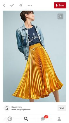 Gorgeous gold skirt with tiny pleats // Gemma Pleated Skirt from anthropologie // love a shiny dressy skirt dresses down with a casual denim jacket Yellow Skirt Outfits, Yellow Pleated Skirt, Pleated Skirt Outfit, Gold Skirt, Dress Skirt, Yellow Skirts, Pleated Skirts, Nice Outfits, Mode Inspiration