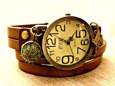 Armbanduhren - FRÜHLINGSWIESE UNISEX - Uhr Echtleder Armbanduhr - ein Designerstück von Kleines-Karma bei DaWanda