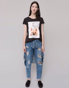 Pull&Bear - woman - t-shirts and tops - short sleeved print t-shirt - black - 09240336-I2015