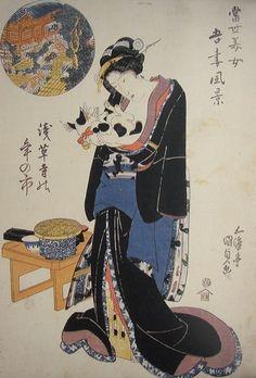江戸時代の猫浮世絵「当世美女吾妻風景」の実物写真