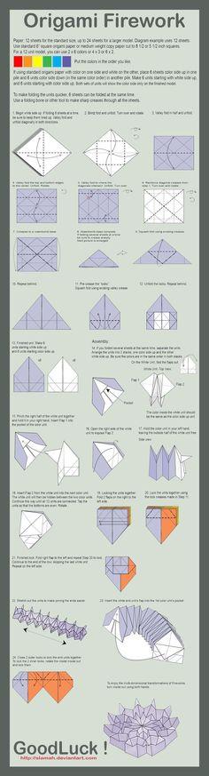 Origami Firework Folding Instructions | Origami Instruction: