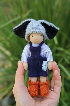 """:: Crafty :: Cloth Doll :: 6"""" Waldorf-inspired pocket doll, Paschal, Wee-Bee Mini Elfcup"""