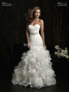 Wholesale 2012 Sexy Mermaid Trumpet Sweetheart Swarovski crystals Fold Applique Bridal gown wedding dresses, Free shipping, $208.32-219.52/Piece | DHgate