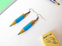 Rainbow color pencil earrings upcycled ecofriendly earrings teacher gift teacher…