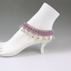 Chainmail Anklet / Ankle Bracelet Pink with bells - HCJewelrybyRose on Etsy