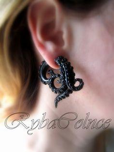 Fake ear tentacle gauge Faux gauge/Gauge earrings/Tentacle