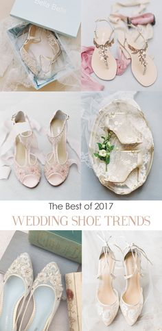 Fabulous trends in wedding shoes to complete your outfit and personality. Elegant beaded flats, 3D floral details, barely there illusion, jeweled sandals, embroidery and beading, or classic lace.