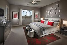 20 Beautiful Gray Master Bedroom Design Ideas - Style Motivation **the white frames... Like?**