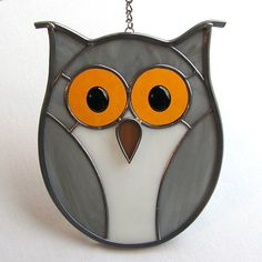 Stained Glass Gray Hoot or Screech Owl by LivingGlassArt on Etsy, $40.00